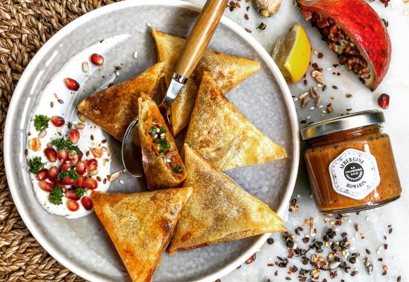 Lamb Samosas Recipe, Eggplant & Rosemary, Sweet Spices Yogurt, Pomegranate