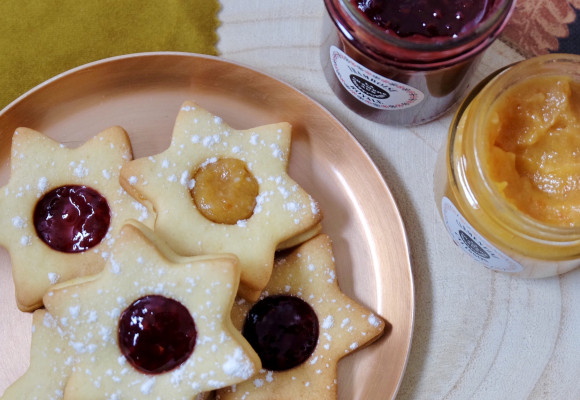 Christmas star cookies with jam